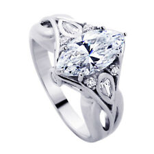 Women Sterling Silver 2ct Marquise CZ Wedding Engagement Ring