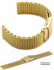 Stainless Steel Metal Shark Mesh Bracelet Watch Band Strap Double Locking Gold
