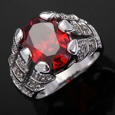Gorgeous Men's  Red Garnet 18K Gold Filled Engagement  Ring Gifts Size 8-11