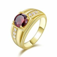 Fashion Garnet Engagement Size 8,9,10,11 Women Men 18K Gold Filled Rings
