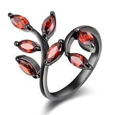 Jewelry Size 6,7,8,9,10 Womens Red Garnet Black 18K Gold Filled Wedding Rings