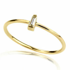 Women 1mm 14K Gold Engagement 0.05ct Diamond Accent Solitaire Promise Ring