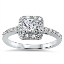 Women Sterling Silver Princess Cut Cubic Zirconia Solitaire Engagement Ring 9MM