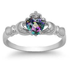 Women Sterling Silver Rainbow Mystic Color CZ Heart Claddagh Ring 9MM