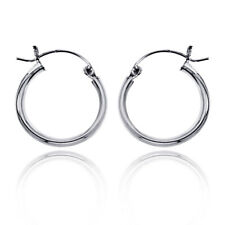 Women Sterling Silver High Polished 2.5mm Classic Round Tube Hoop Earrings