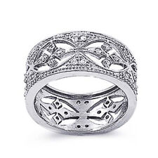 Women Sterling Silver Round CZ Pave Setting Filigree Band Ring 11MM