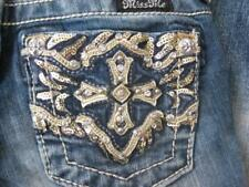 MISS ME tween girls sz 8 boot cut cross sequin embellished blue denim jeans NEW