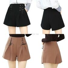 Fashion Women Casual Loose Wide Leg Shorts High Waist Pleated Lace-up Hot Pants