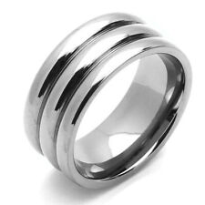 Men 9MM Comfort Fit Titanium Wedding Band Grooved Dome Ring