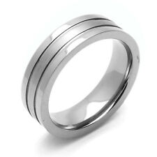 Men Women 6MM Comfort Fit Titanium Wedding Band Satin Finish Center Grooved Ring