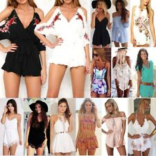 Fashion Women Holiday Mini Playsuit Ladies Jumpsuit Romper Beach Dress Size 6-14