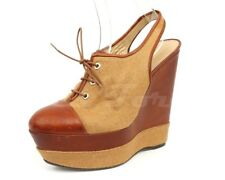 Womens STUART WEITZMAN brown leather / fabric slingback wedges sz. 9 NEW!