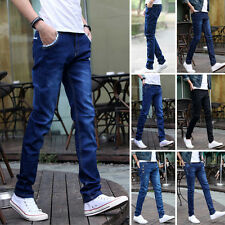 Stylish Mens Slim Fit Straight Washed Denim Pants Pencil Trousers Casual Jeans