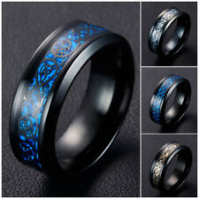 Cool Titanium Steel Ring Black Dragon Blue Carbon Fiber Men Band Ring Jewelry