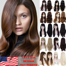 Women'S Medium Long Straight Wavy Full Wig Synthetic Hair Cosplay Wigs Thick G48