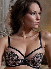 Charnos Eva Sexy Semi Sheer Balcony Bra 1298040 Black/Nude * SALE
