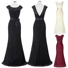Women Lace Long Bridesmaid Bride Mother Prom Formal Evening Cocktail Party Gown