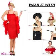 Red Jazzy Flapper Fringe Costume 1920s 20s Charleston Ladies Fancy Dress Wig Boa