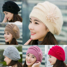 Fashion Womens Flower Knit Crochet Beanie Hat Winter Warm Cap Beret Solid Hat US