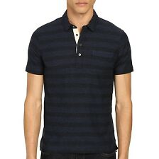 Billy Reid Men's Short Sleeve Pensacola Striped Polo Blue Black $95 msrp NWT