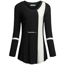 Women Round Neck Long Sleeve Contrast Color Patchwork Basic T-Shirt ESY1 01