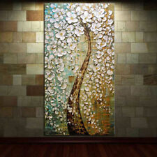"20""x40""100% Hand-painted Abstract Canvas Oil Painting PEACOCK TREE /NO Frame"