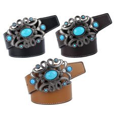 Stylish Turquoise Western Belt Leather Flower Metal Buckle Belt Adjustable