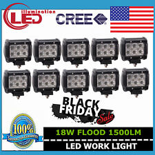10X 4inch 18W CREE LED Work Light Bar Flood Beam Off-road ATV SUV Jeep 12V 24V