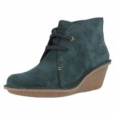 Ladies Clarks Suede Wedge Heeled Ankle Boots Label - Marsden Lily