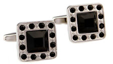 Black Tie Square Black crystal & Silver Man Gift Cuff links by CUFFLINKS DIRECT