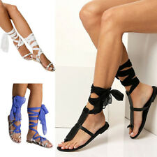 2017 New Fashion Summer Strappy Lace Up Gladiator Flat Flip Flop Sandals Shoes