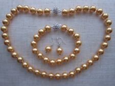 Yellow Gold South Sea Shell Pearl Beaded Necklace, Bracelet & Earrings Set.