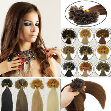 Pre-Bonded Keratin Nail Tip U Glue Tip Indian Remy Human Hair Extensions 100S 7A