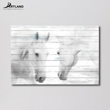 Canvas Print Art ' White Horses ' Gallery-wrapped Wall Painting 60x90cm