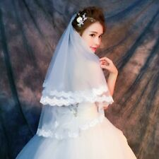 White 1 Tier Applique Lace Veil Wedding Bridal Short Satin Edge Veil With Comb
