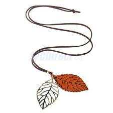 Double Leaves Pendant Necklace Alloy Vintage Elegant Charms Sweater Long Chain