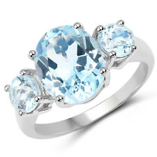 925 Sterling Silver 3 Stone Wedding Engagement Ring 5.20 ct Genuine Blue Topaz