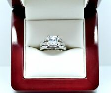 Real 925 Solid Silver 2.4Ct Sparkly Princess Cut Diamond Engagement Ring