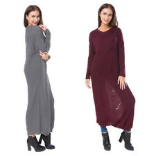 Womens Round Neck Jumper Dress Oversize Baggy Knit Sweater Tops