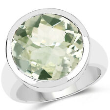 9.00 ct Genuine Green Amethyst Round Cut 925 Sterling Silver Engagement Ring