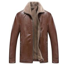 Mens Winter Warm inner Fur Real Leather Coat Thicken Jacket Parka Outwear S-4XL