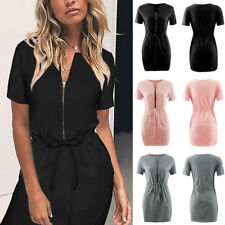 Fashion Womens Sexy V Neck Short Sleeve Zip Up Belted Party Casual Mini Dress
