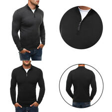 High-necked knitwear Men's woolen sweater Solid color knit shirt  Casual style