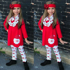 Xmas Christmas Kids Child Girls Baby Clothes Dress Tops+Pants Outfit Set