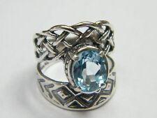925 Sterling Silver Ring Blue Topaz CZ Blue Stone Cocktail Style for Jewelry