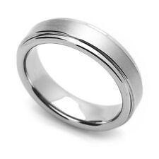 5.5MM Comfort Fit Tungsten Carbide Wedding Band Brushed Grooved Edges Ring