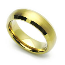 6MM Comfort Fit Tungsten Carbide Wedding Band Gold Tone Dome Beveled Edge Ring