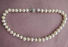 "Huge 10-11 mm AA White Salt Water Baroque Cultured Pearl Necklace 17""-18""."