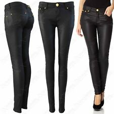 WOMENS LADIES BLACK PU JEANS LEATHER LOOK SKINNY STRETCH FIT TROUSER PVC PANTS