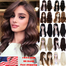 Fashion Women Wig Real Long Natural Curly Wave Ombre Full Wigs Costume Hair Hha